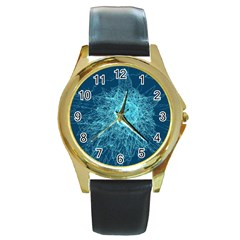 Shattered Glass Round Gold Metal Watch by linceazul