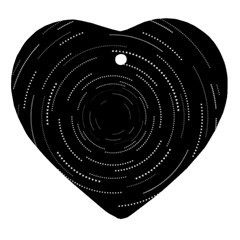 Abstract Black White Geometric Arcs Triangles Wicker Structural Texture Hole Circle Ornament (heart) by Mariart