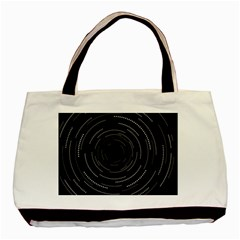 Abstract Black White Geometric Arcs Triangles Wicker Structural Texture Hole Circle Basic Tote Bag by Mariart