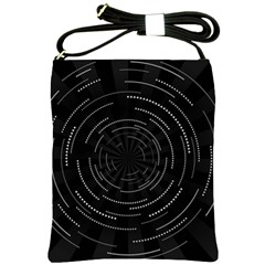 Abstract Black White Geometric Arcs Triangles Wicker Structural Texture Hole Circle Shoulder Sling Bags by Mariart