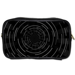 Abstract Black White Geometric Arcs Triangles Wicker Structural Texture Hole Circle Toiletries Bags 2 Side by Mariart