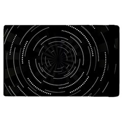 Abstract Black White Geometric Arcs Triangles Wicker Structural Texture Hole Circle Apple Ipad 2 Flip Case by Mariart