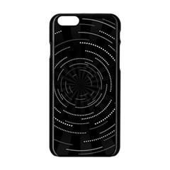Abstract Black White Geometric Arcs Triangles Wicker Structural Texture Hole Circle Apple Iphone 6/6s Black Enamel Case by Mariart