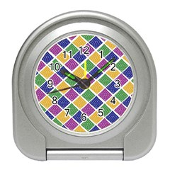African Illutrations Plaid Color Rainbow Blue Green Yellow Purple White Line Chevron Wave Polkadot Travel Alarm Clocks by Mariart