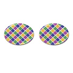 African Illutrations Plaid Color Rainbow Blue Green Yellow Purple White Line Chevron Wave Polkadot Cufflinks (oval) by Mariart