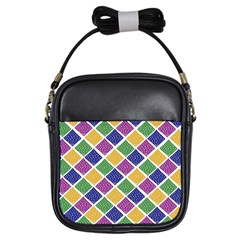 African Illutrations Plaid Color Rainbow Blue Green Yellow Purple White Line Chevron Wave Polkadot Girls Sling Bags by Mariart