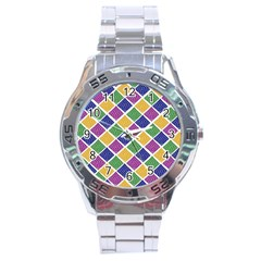 African Illutrations Plaid Color Rainbow Blue Green Yellow Purple White Line Chevron Wave Polkadot Stainless Steel Analogue Watch by Mariart