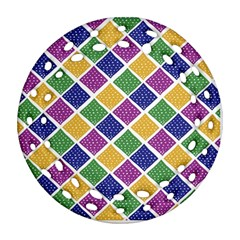 African Illutrations Plaid Color Rainbow Blue Green Yellow Purple White Line Chevron Wave Polkadot Ornament (round Filigree) by Mariart