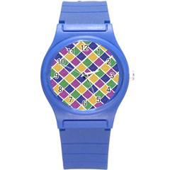 African Illutrations Plaid Color Rainbow Blue Green Yellow Purple White Line Chevron Wave Polkadot Round Plastic Sport Watch (s) by Mariart