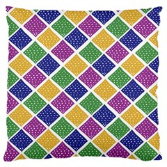 African Illutrations Plaid Color Rainbow Blue Green Yellow Purple White Line Chevron Wave Polkadot Large Cushion Case (one Side) by Mariart