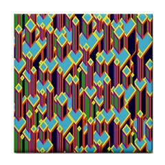 Building City Plaid Chevron Wave Blue Green Tile Coasters by Mariart