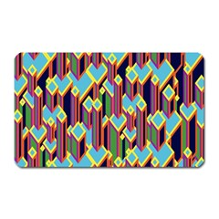 Building City Plaid Chevron Wave Blue Green Magnet (rectangular) by Mariart