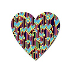 Building City Plaid Chevron Wave Blue Green Heart Magnet by Mariart