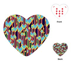 Building City Plaid Chevron Wave Blue Green Playing Cards (heart)  by Mariart