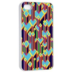 Building City Plaid Chevron Wave Blue Green Apple Iphone 4/4s Seamless Case (white) by Mariart