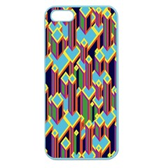 Building City Plaid Chevron Wave Blue Green Apple Seamless Iphone 5 Case (color)