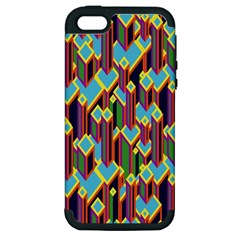 Building City Plaid Chevron Wave Blue Green Apple Iphone 5 Hardshell Case (pc+silicone) by Mariart