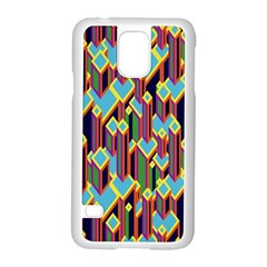 Building City Plaid Chevron Wave Blue Green Samsung Galaxy S5 Case (white)