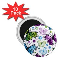 Butterfly Animals Fly Purple Green Blue Polkadot Flower Floral Star 1 75  Magnets (10 Pack)  by Mariart