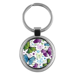 Butterfly Animals Fly Purple Green Blue Polkadot Flower Floral Star Key Chains (round)  by Mariart