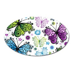 Butterfly Animals Fly Purple Green Blue Polkadot Flower Floral Star Oval Magnet by Mariart