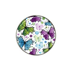 Butterfly Animals Fly Purple Green Blue Polkadot Flower Floral Star Hat Clip Ball Marker (4 Pack) by Mariart