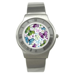 Butterfly Animals Fly Purple Green Blue Polkadot Flower Floral Star Stainless Steel Watch by Mariart