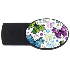 Butterfly Animals Fly Purple Green Blue Polkadot Flower Floral Star Usb Flash Drive Oval (4 Gb) by Mariart