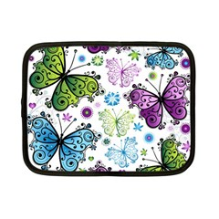 Butterfly Animals Fly Purple Green Blue Polkadot Flower Floral Star Netbook Case (small)  by Mariart