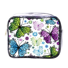 Butterfly Animals Fly Purple Green Blue Polkadot Flower Floral Star Mini Toiletries Bags by Mariart