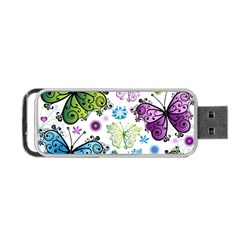 Butterfly Animals Fly Purple Green Blue Polkadot Flower Floral Star Portable Usb Flash (one Side) by Mariart