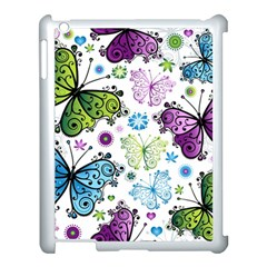 Butterfly Animals Fly Purple Green Blue Polkadot Flower Floral Star Apple Ipad 3/4 Case (white) by Mariart