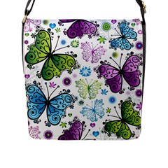 Butterfly Animals Fly Purple Green Blue Polkadot Flower Floral Star Flap Messenger Bag (l)  by Mariart