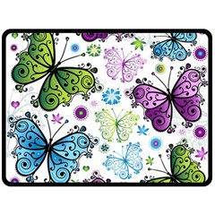 Butterfly Animals Fly Purple Green Blue Polkadot Flower Floral Star Double Sided Fleece Blanket (large)  by Mariart