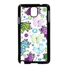 Butterfly Animals Fly Purple Green Blue Polkadot Flower Floral Star Samsung Galaxy Note 3 Neo Hardshell Case (black) by Mariart