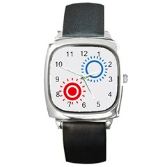 Color Light Effect Control Mode Circle Red Blue Square Metal Watch by Mariart