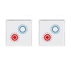 Color Light Effect Control Mode Circle Red Blue Cufflinks (square) by Mariart