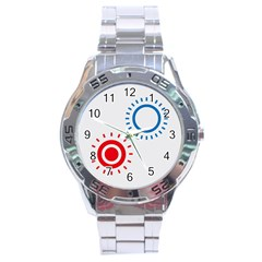 Color Light Effect Control Mode Circle Red Blue Stainless Steel Analogue Watch by Mariart