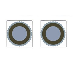 Circle Round Grey Blue Cufflinks (square) by Mariart