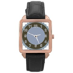 Circle Round Grey Blue Rose Gold Leather Watch  by Mariart