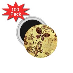 Butterfly Animals Fly Purple Gold Polkadot Flower Floral Star Sunflower 1 75  Magnets (100 Pack)  by Mariart