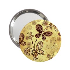 Butterfly Animals Fly Purple Gold Polkadot Flower Floral Star Sunflower 2 25  Handbag Mirrors by Mariart