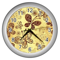 Butterfly Animals Fly Purple Gold Polkadot Flower Floral Star Sunflower Wall Clocks (silver)  by Mariart