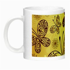 Butterfly Animals Fly Purple Gold Polkadot Flower Floral Star Sunflower Night Luminous Mugs by Mariart