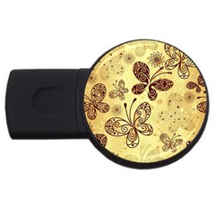 Butterfly Animals Fly Purple Gold Polkadot Flower Floral Star Sunflower Usb Flash Drive Round (4 Gb) by Mariart