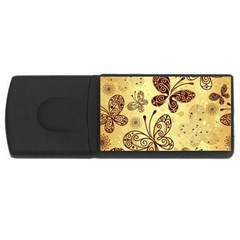Butterfly Animals Fly Purple Gold Polkadot Flower Floral Star Sunflower Usb Flash Drive Rectangular (4 Gb) by Mariart