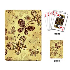 Butterfly Animals Fly Purple Gold Polkadot Flower Floral Star Sunflower Playing Card by Mariart