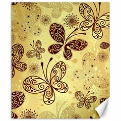 Butterfly Animals Fly Purple Gold Polkadot Flower Floral Star Sunflower Canvas 8  X 10  by Mariart