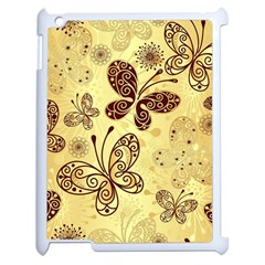 Butterfly Animals Fly Purple Gold Polkadot Flower Floral Star Sunflower Apple Ipad 2 Case (white) by Mariart