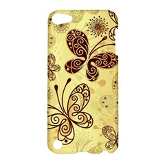Butterfly Animals Fly Purple Gold Polkadot Flower Floral Star Sunflower Apple Ipod Touch 5 Hardshell Case by Mariart